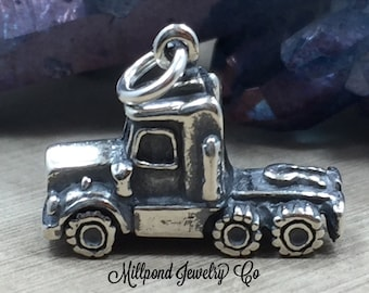 Semi Charm, Trucker Charm, Truck Charm, Big Rig Charm, Truck Driver Charm, Sterling Silver