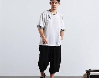 Men Linen T-Shirt – Chinese Folk Style Short Sleeve Men's T-shirt Og2mgB0