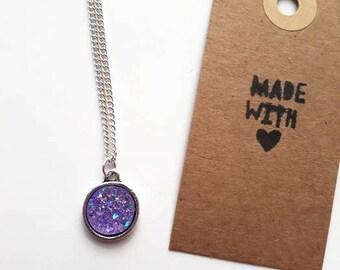 Lilac druzy necklace