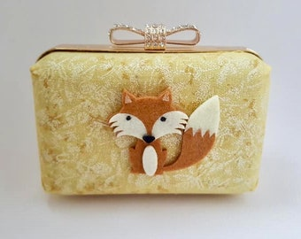 SALE. Fox small clutch bag, gold