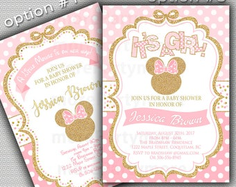 Pink and Gold Baby Shower Invitation, Minnie Inspired Baby Shower Invitation, Girl Baby Shower, Gold Glitter invitation, Printable invite
