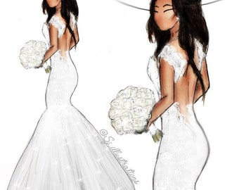 Custom Bridal illustration - A4 Print + Digital Download/ unframed / Gift /  Wedding / Present / 1st anniversary gift / paper anniversary