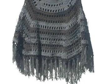 Crochet Poncho Shades Of Gray Crochet Poncho Shawl Handmade Crochet Pullover Poncho Capelet Coverup