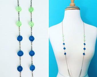 Pilsen Crochet Necklace in Mint Green / Dark Turquoise