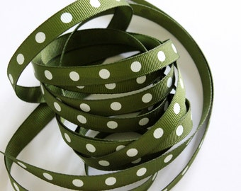 """3/8"""" Dotted Grosgrain Ribbon - Willow with White Dots - 5 yards"""