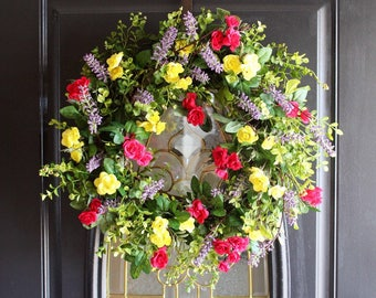 Wreaths, Spring Door Wreath, Summer Wreath, Easter Wreath, Everyday Wreath, Front Door Wreath, Rose Garden Wreath, Cottage Wreath
