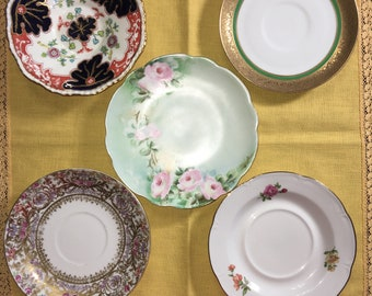 Antique & Vintage Assorted China Teacup Saucers, set of Five