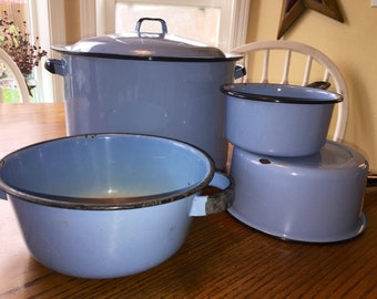 Vintage Enamelware Cooking Set