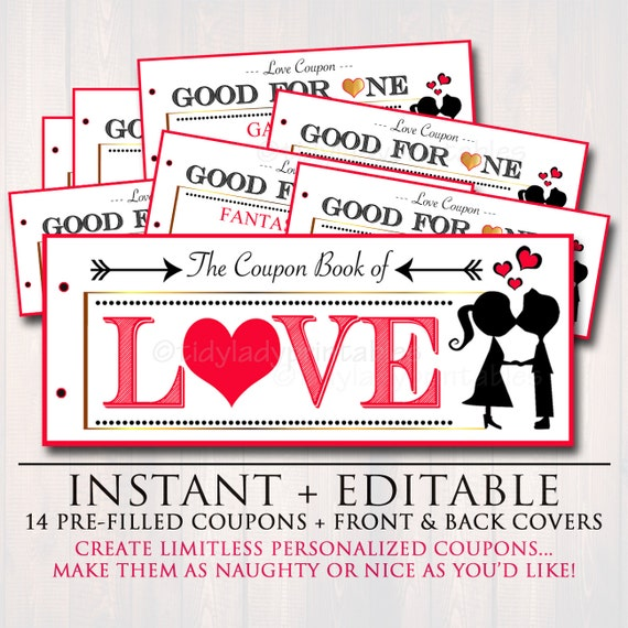 Editable love coupon book instant download printable love - Code promo paul valentine ...