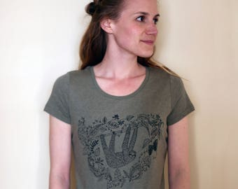 Womens T-shirt 'Sleepy sloth', hand screen printed with eco-friendly inks onto organic cotton. Featuring an illustration of a sleepy sloth.