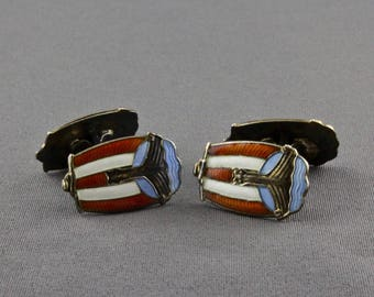 Vintage Sterling Silver And Enamel Viking Ship Double Sided Cufflinks By Andresen & Scheinpflug