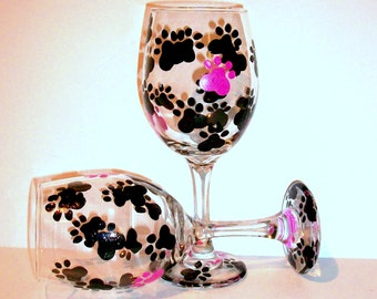 Paw Prints Hand Painted Wine Glasses Set of  2- 20 oz. Wine Glasses Black Paw Prints Pink Paw Prints White Wine or Red  Dog Lover Pet Gift