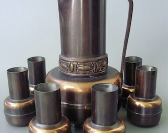 Rare,Vintage copper barware, pitcher and copper shooters,6 shot glasses