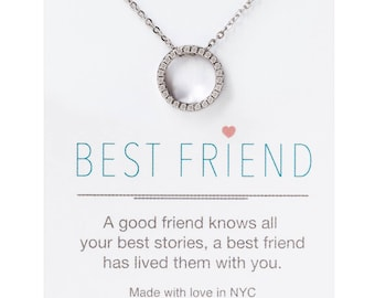 Silver Friendship Necklaces,Best Friend Necklaces,Best Friend Gift,Eternity Necklaces, Silver Circle Pendant Necklaces, Gift for Her, N289-S