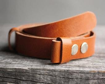 Genuine leather snap belt, COGNAC snap on belt, Handmade leather belt, belt strap for buckle, gift for him, man gift idea