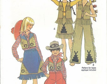 70s Simplicity 7161 Kid's Cowboys and Indians Costumes Sewing Pattern UNCUT