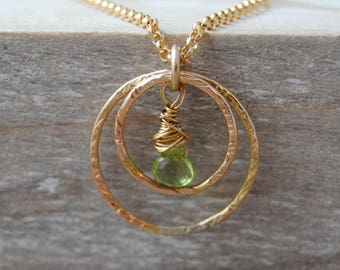 Peridot Necklace, August Birthday Gift, August Birthstone Necklace, Gold Necklace, Circle Necklace