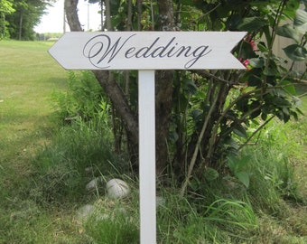 Rustic Wedding Sign Decoration Directional Arrow Wood Ceremony stake included Country Road signs Weddings decoration