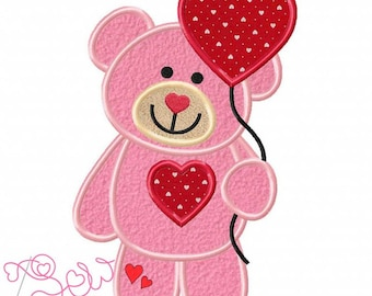Personalized Valentine's Teddy Bear w/ Heart Applique Shirt or Bodysuit Girl or Boy