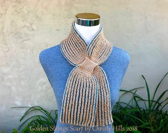 Knitting Pattern Only - Golden Strings Scarf