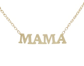 "Name ""MAMA"" Personalized Initial Letter 14K Solid Gold Pendant Charm Necklace (New Mom Push Present, Cute Mother's Day Gift Ideas for Her)"