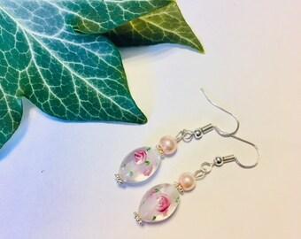 Pretty Floral Murano Drop Earrings