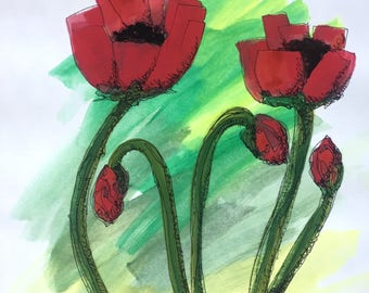 Red Poppies and Buds 8x10 watercolor painting by Nan Henke, original