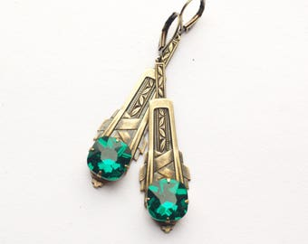 Art Deco earrings emerald green crystal bronze jewel vintage style 1920's gatsby old Hollywood glamour gem 1930's flapper rhinstone brass