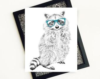 Forest Animal Nursery Art, Raccoon Nursery Art Print, Forest Nursery Art Print, Nursery Animal Printable Art, 8x10 Digital File