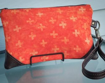 Orange Clutch Purse Cross Pattern