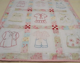 Hand Embroidered Baby Blanket/Wall Hanging