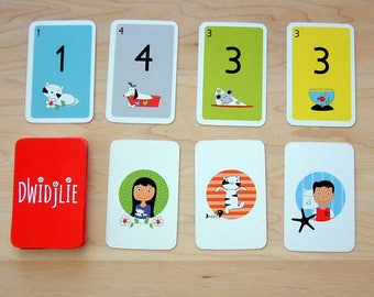 DWIDJLIE educational game for children made in Quebec, playing cards with animals and numbers, gift