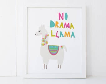 Llama Print, Llama Wall Print, No Drama Llama Print 8 X 10, Girls Bedroom Wall Art, Home Decor, Llama Print for Girls Bedroom, PRI030