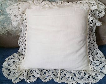 White linen pillow case with lace ruffle