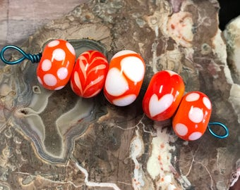 Lampwork Glass Bead Set (5 Beads) by Robert Croft