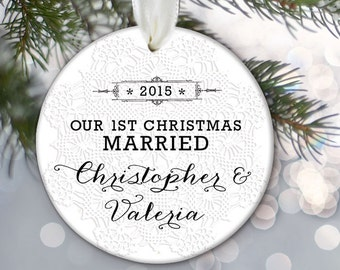 Our First Christmas MARRIED Ornament Wedding Gift Personalized Christmas Ornament Bridal Shower Gift Custom Ornament Vintage lace OR351