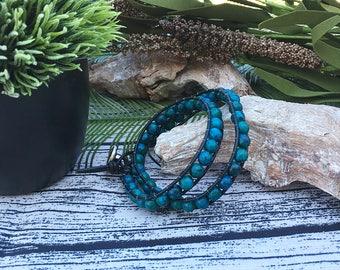 Handcrafted Jewelry, Double wrap Australian Jasper stone bracelet