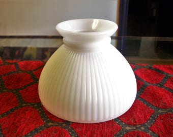 Vintage Milk Glass Lamp Light Shade with Ribbed Design