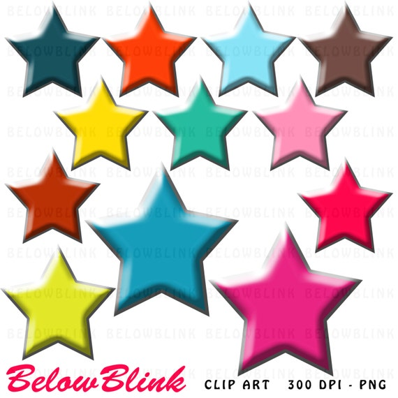 colorful stars clipart clip art digital scrapbooking commercial use rh etsystudio com
