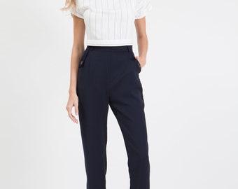 High Waisted Pants in Blue / Blue Pants / Retro Pants / 50s Pants / Navy Blue Pants /