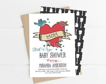 Rock a Bye Baby Shower Invitation, Rock N Roll Invite Printable, Born to Rock, Mom Tattoo, Guitar Couples Baby Shower, Gender Neutral, Boy