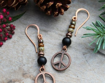 Black Onyx Peace Sign Earrings, Peace Sign Earrings, Copper Earrings, Hippie Earrings, Hippie Jewelry, Boho Earrings, Black Onyx, Peace Sign