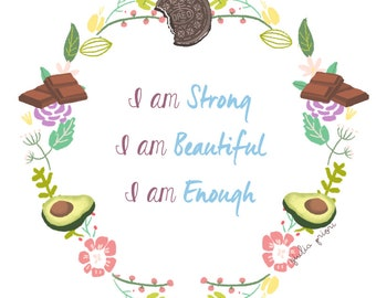 BODY POSITIVE floral quote PRINTABLE
