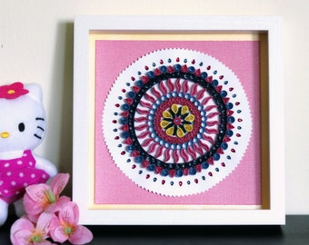 Manadala Art,Quilling Wall Decor,Wall Art,Mandala themed crafting,Quilled paper,Mothers Day Gift,Customised,Special,Pink,Blue,Art piece