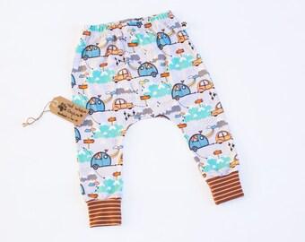 Organic Harem Pants: Baby Harem Pants, Toddler Harems, Organic Baby Clothes, Hipster Baby Clothes, Toddler Gift, Mono Harems, Car Harems
