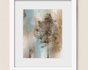 8 x 10 Art Print, Brown and Tan Tree Wall Art, Living Room Wall Art, Tree Wall Decor for Home, Blue and Brown Bathroom Art (455)