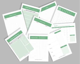 Sage Green Yearly Blog Planner and Organizer Worksheet Kit - INSTANT DOWNLOAD!