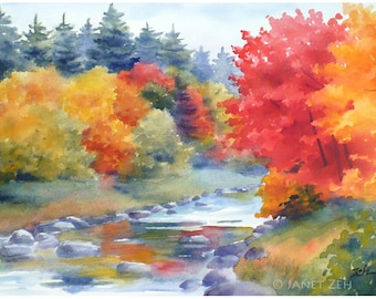 Autumn watercolor print, New England fall landscape, New Hampshire art by Janet Zeh Original Art