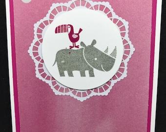 Baby Card, New baby card, Baby Shower card, rhino, pink