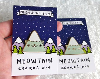 Meowtain enamel pin - Cat Mountain lapel pin badge. Perfect cat lover gift / nature lover. Blue & gold cat pin badge. Mountain jewellery